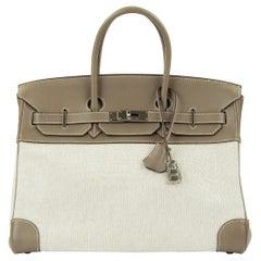 Hermes Birkin Bag 35cm Etoupe Toile Swift PHW (Pre Owned)