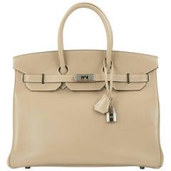 Hermès Birkin Bag 35cm Guilloche Tadelakt Argile PHW