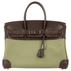 Hermes Birkin Bag 35cm Olive Toile Officier Canvas Chocolate PHW