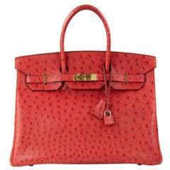 Hermes Birkin Bag 35cm Rouge VIF Ostrich GHW