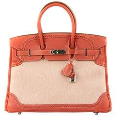 Hermes Birkin Bag 35cm Sanguine Ghillies Toile PHW