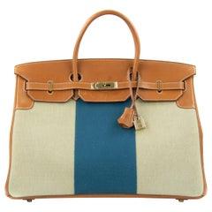 Hermes Birkin Bag 40cm Blue Thalassa Flag Toile Barenia GHW