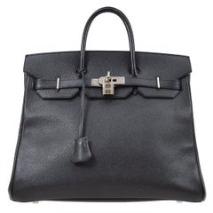 Hermes Birkin HAC 32 Black Leather Carryall Men's Travel Top Handle Tote Bag