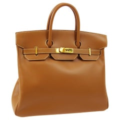 Hermes Birkin HAC 32 Cognac Leather Carryall Men's Travel Top Handle Tote Bag