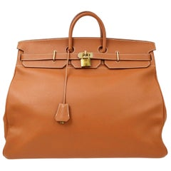 Hermes Birkin HAC 55 Cognac Leather Gold Large Men's Travel Top Handle Tote Bag