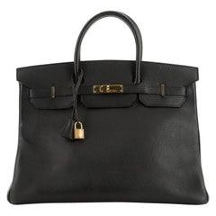 Hermes Birkin Handbag Black Ardennes with Gold Hardware 40