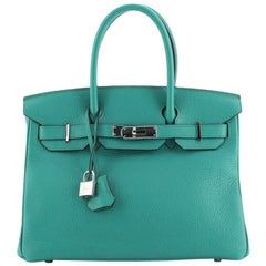 Hermes Birkin Handbag Bleu Paon Clemence with Palladium Hardware 30