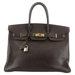 Hermes Birkin Handbag Ebene Epsom with Gold Hardware 35