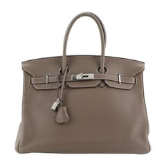Hermes Birkin Handbag Etoupe Clemence with Palladium Hardware 35