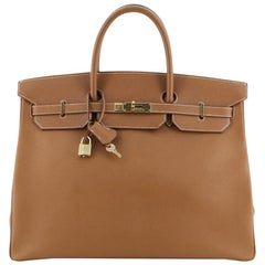 Hermes Birkin Handbag Gold Courchevel with Gold Hardware 40