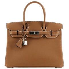 Hermes  Birkin Handbag Gold Epsom with Palladium Hardware 30