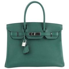 Hermes Birkin Handbag Malachite Epsom with Palladium Hardware 30