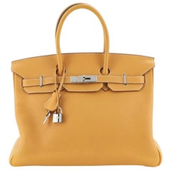 Hermes Birkin Handbag Moutarde Clemence with Palladium Hardware 35
