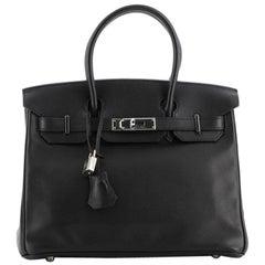 Hermes Birkin Handbag Noir Swift with Palladium Hardware 30