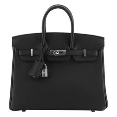 Hermes Birkin Handbag Noir Togo with Palladium Hardware 25