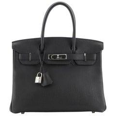 Hermes Birkin Handbag Noir Togo with Palladium Hardware 30