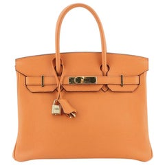 Hermes Birkin Handbag Orange H Clemence with Gold Hardware 30