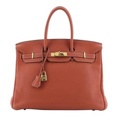 Hermes Birkin Handbag Sanguine Clemence with Gold Hardware 35