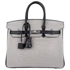 Hermes Birkin HSS 25 Bag Gris Perle / Black Matte Alligator Palladium Hardware