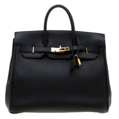 Hermes Black Fjord Leather Gold Hardware HAC Birkin 32 Bag