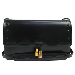 Hermes Black Leather Gold Tassel 2 in 1 Evening Clutch Shoulder Flap Bag