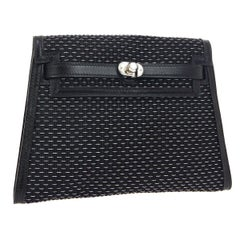 Hermes Black Leather Palladium Evening Envelope Clutch Bag in Box