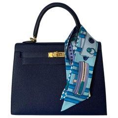 Hermes Blue Saphire Kelly 25  Epsom Sellier Bag Gold Hardware