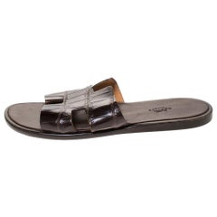 Hermes Brown Croc Leather Izmir Flat Sandals Size 42