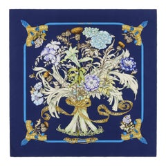 "HERMES c.1997 ""Regina"" Navy Floral Ribbon Royal Bouquet & Belts Silk Twill Scarf"