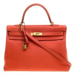 Hermes Capucine Togo Leather Gold Hardware Kelly Retourne 35 Bag