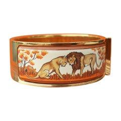 Hermès Clic Clac Bracelet Enamel Lions and Lionesses in Savannah GHW Size GM