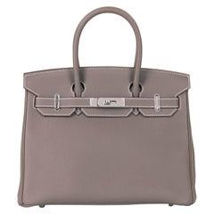 Hermes Etoupe Togo Leather Birkin 30 Bag - Palladium Hardware - 2016 Never Worn