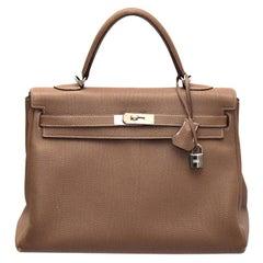Hermes Etoupe Togo Leather Palladium Hardware Kelly Retourne 35 Bag