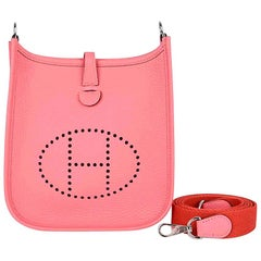 Hermes Evelyne TPM Bag Rose Azalee Crossbody Clemence Palladium New w/ Box