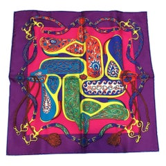 Hermes Festival des Amazones Silk Pocket Square