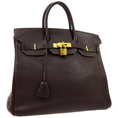 Hermes HAC 32 Dark Chocolate Leather Gold Carryall Travel Top Handle Tote Bag
