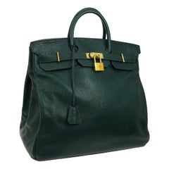 Hermes HAC 45 Green Leather Gold Large Men's Carryall Travel Top Handle Tote Bag