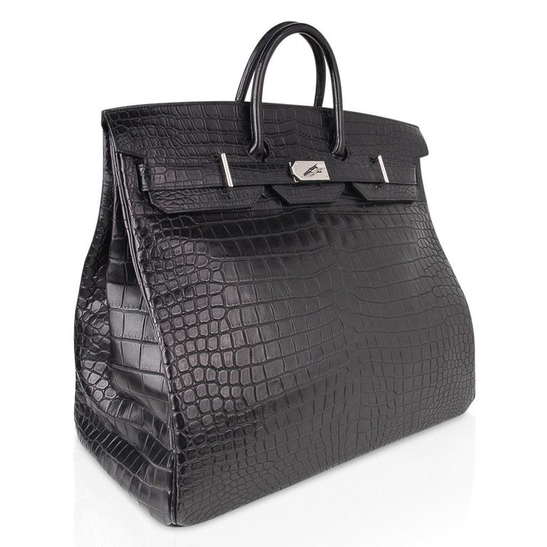 Women's or Men's Hermes Hac 50 Travel Bag Black Matte Porosus Crocodile Palladium New w/ Box For Sale
