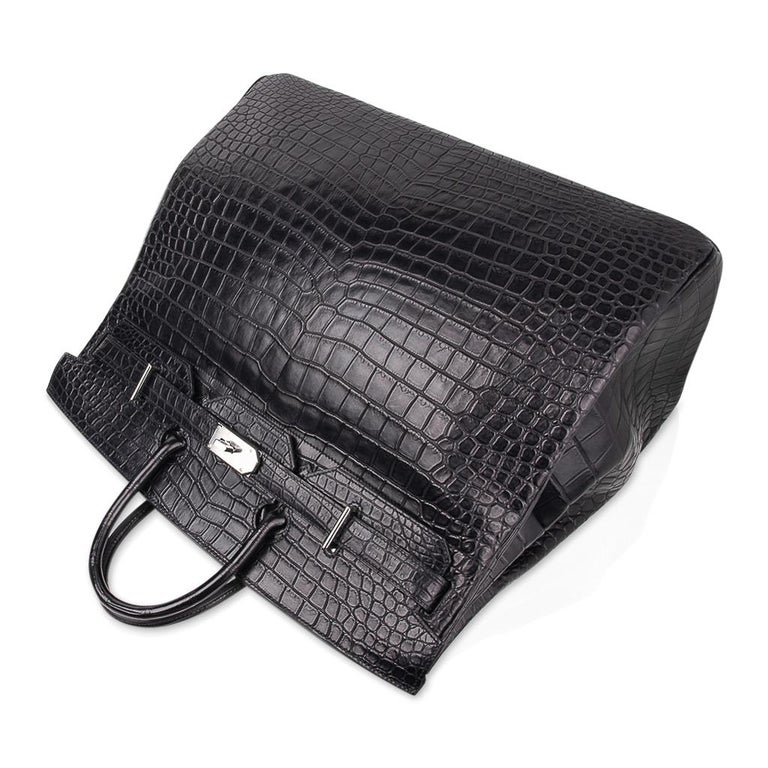 Hermes Hac 50 Travel Bag Black Matte Porosus Crocodile Palladium New w/ Box For Sale 1