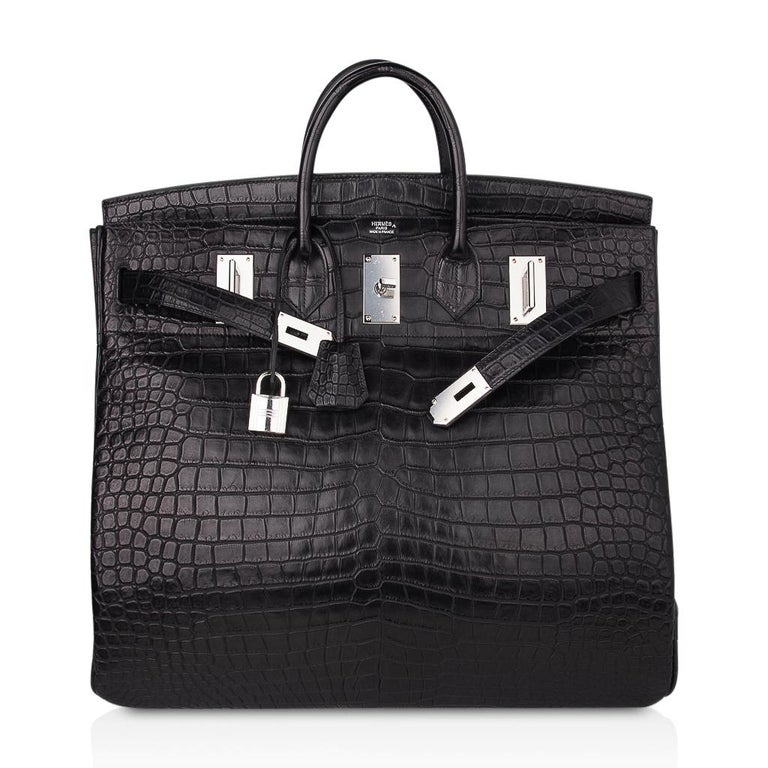 Hermes Hac 50 Travel Bag Black Matte Porosus Crocodile Palladium New w/ Box For Sale 4