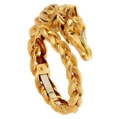 Hermes Horse Head Gold Bangle Bracelet