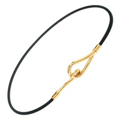 Hermes Jumbo Hook Black Cord Double Wrap Bracelet