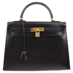 Hermes Kelly 32 Black Leather Gold Top Handle Satchel Shoulder Bag