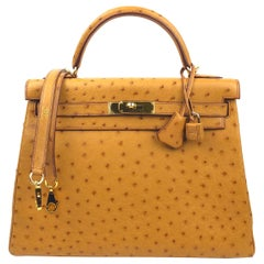 Hermes Kelly 32 Natural Camel Ostrich Gold Hardware With All Plastic