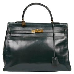 HERMES Kelly 35 Green Box Leather