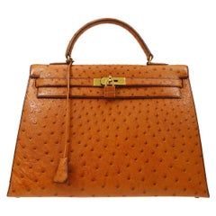 Hermes Kelly 35 Tan Brown Camel Ostrich Exotic Gold Top Handle Satchel Flap Bag