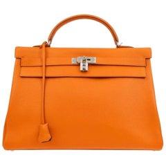Hermes Kelly 40 Orange Leather Top Handle Satchel Carryall Tote Flap Bag