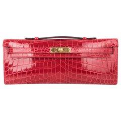 Hermes Kelly Cut Bag Braise Crocodile Gold Hardware Clutch