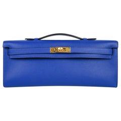 Hermes Kelly Cut Electric Blue Clutch Bag Swift Gold Hardware