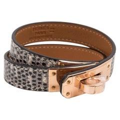 Hermes Kelly Double Tour Bracelet Ombre Lizard Rose Gold Hardware